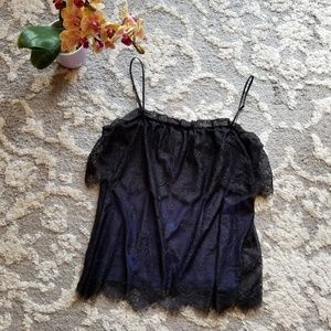 MNG by Mango Blue and Black Lace Cami Medium
